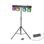 Cameo NEW Multi PAR COB 1 SET - Set with 4 x 30 W RGB COB LED Lighting Set with Transport Case, 4 pedal Foot Switch and Stand