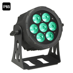 Cameo NEW Outdoor FLAT PRO PAR CAN 7 IP65 - 7 x 10 W FLAT LED Outdoor RGBWA PAR light in black housing