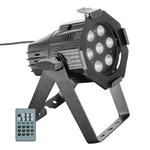 Cameo Studio Mini PAR Q 4W W - 7 x 4 W Cold White/Warm White LED PAR Can in black housing